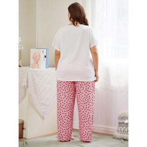 Ladies spring autumn plus size pajamas for women home wear suit short sleeve white T-shirt and print long pants 4XL 5XL 6XL 7XL