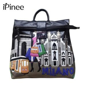 iPinee 2019 New PU Leather Women Backpack Luxury Embroidered School Backpack For Teenager Girl Large Capacity Travel  Backpack