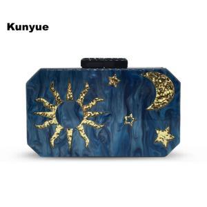 New Fashion Blue STAR MOON SUN Pattern Evening Bags Woman Wedding Clutch Purse Trendy Party Prom Wallet Cute Chains Box Handbags