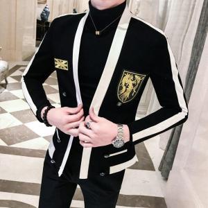 Embroidery Blazer Hombre Slim Fit Blazers Men Suit Jacket Fashion Streetwear Social Mens Stage Leisure Male Casual Blazers
