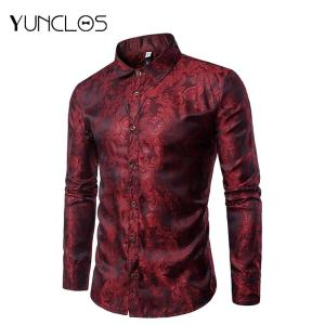 Men's Paisley Shirts Fit Floral Print Casual Shirt Long Sleeve Formal Dress-Up Or Wedding Shirts For Men Chemise Homme S- 3XL