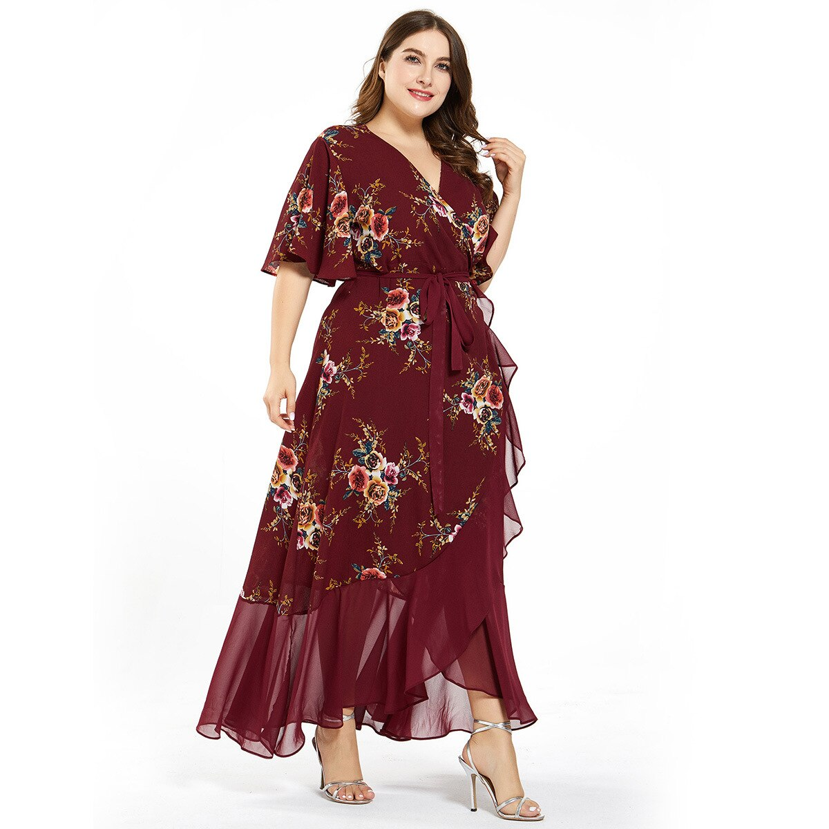 Women Summer Dress Plus Size 4XL 5XL Female V Neck Short Sleeve Floral Print Ruffles Boho Beach Dress Maxi Long Wrap Dresses
