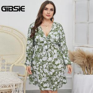 GIBSIE Sexy Knot Front Deep V Neck Dress Women Boho Casual Floral Print Spring Dresses Plus Size Long Sleeve Ladies Mini Dress