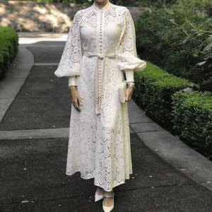 Elegant Hollow Out Women Dress Stand Lantern Sleeve High Waist Bandage With Vest Midi Dresses Female Fashion 2019 Chic