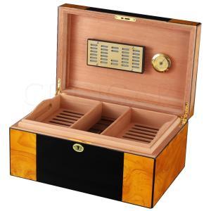 COHIBA Cedar Wood Humidor Home Cigar Case Large Capacity Glossy Piano Finish Cigar Humidor Box W/ Lock Humidifier Hygrometer