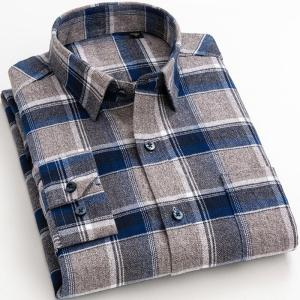 New Cotton Men's Flannel Plaid Shirts For Man Long Sleeve Dress Shirt Male Spring Autumn Casual Soft Comfort Slim Fit Clothing