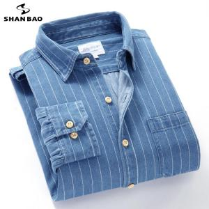 Men's slim striped denim long-sleeved shirt 2020 autumn new brand high quality comfortable soft cotton large size casual shirt