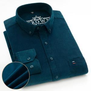 Plus Size Cotton Corduroy Shirt for Men Casual S-7XL Business Mens Solid Shirts Long Sleeve Leisure Overshirt Autumn Comfortable