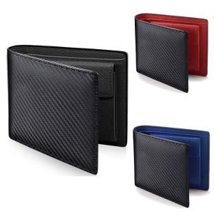 Men Leather Carbon Fiber Pattern Wallet Casual Two Fold Leather Wallet Women Multi-Card Change Pocket Short Wallet Clip Fshion