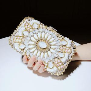 Gold Banquet Bag Women's Evening Party Bag Bridal Wedding Clutch Glitter Bag Vintage Court Crystal Shiny Rhinestones Handbags