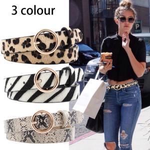 2019 Fashion Leopard Belt Women Snake Print Thin Horsehair Waist Belt PU Leather Gold Ring Buckle Belts For Ladies Female