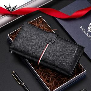 Luxury high-end brand new RFID wallet men's long new high-end leather zipper wallet detachable card bank card clutch bag