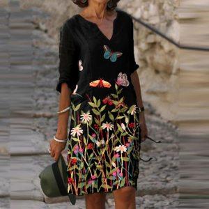 #S0 Plus Size Dresses For Women Vintage Floral Printed Half Sleeve V-Neck Summer Dress Women 2021 New Fashion Straight Dress