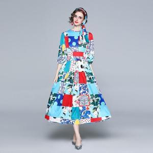 Banulin 2021 Spring Fashion Runway Maxi Dress Women Puff Sleeve Belted Roses Floral Print Boho Holiday Chiffon Long Dress