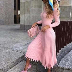 JULISSA MO Vintage Knitted Sweater Dress Women Pink Elegant Long Sleeve Pleated Winter Dress Female Party Christmas Dresses 2019