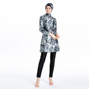 Waterproof Burkini 2021 New With Cap Muslim Swimsuit Print Islamic Swimwear Three-piece Swimming Clothes Maio Feminino Praia