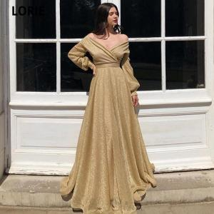 LORIE A-line Gold Glitter Prom Dresses Formal Long Sleeve Evening Gowns V-neck Dubai Shiny Special Occasion Gowns Party Dress