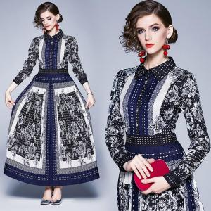 Banulin Runway Designer Autumn Vintage Print Long Sleeve Maxi Pleated Dress Women Elegant Party Vestidos Robe Femme New