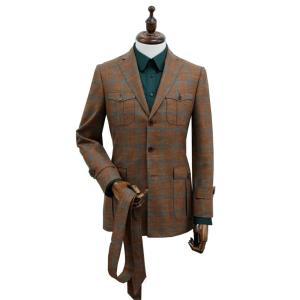 Mens Custom Made Grid Brown  Suit Tailored-made Single Breasted Men Suit Peak Lapel sport Jacket Linen wool silk bepoke men suit