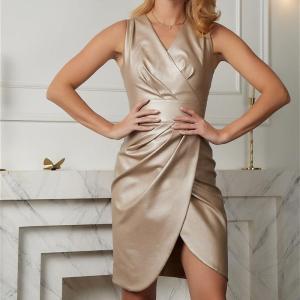 Party Club Sexy Bodycon Hem Slit v-Neck Sleeveless Pu Leather Dress Glossy Patent Leather Skinny Mini Dress 2020 New Fashion