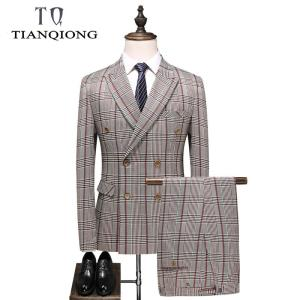 TIAN QIONG Plaid Suit for Men Slim Fit Mens Double Breasted Suits Groom Wedding Tuxedo 3 Pieces Prom Party Suit Male
