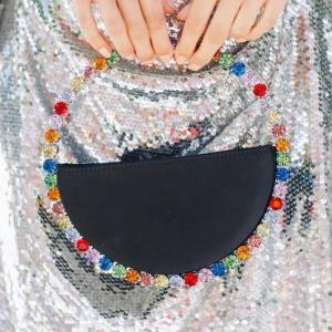 INS Diamond Circular Evening Bag Women Colorful Rhinestone Round Handle Handbag Ladies Dinner Clutch Purses