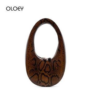 Luxury Handbags Oval Women Bags Snake Shoulder Bags Brand Design Egg-shaped Clutch Bag Leather Female serpentine Evening Bag Sac