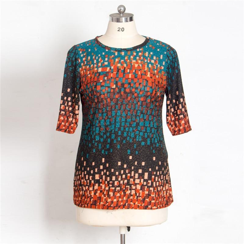 5XL Plus Size Blouse Women 2019 Autumn O Neck Three Quarter Sleeve Plaid Print Casual Blouse Loose Oversized Ladies Tunic Tops