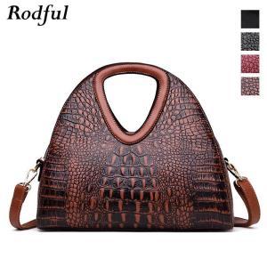 Rodful designer luxury handbags women bags crocodile vintage large tote shoulder bag ladies genuine leather hand bag women brown