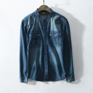 Men Classic Gentleman Blue & black Long sleeve denim shirt Autumn Fashion Casual Brand male Jeans Shirts camisa masculina 3XL
