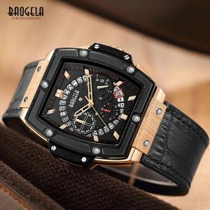 Baogela Luxury Chronograph Watches Men Leather Band Waterproof Quartz Watch Man Top Brand Wristwatch Relogios Masculio 1703 Rose