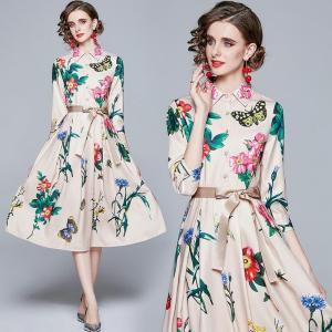 2021 Spring Fashion Runway Party Dress Women Elegant 3/4 Sleeve Butterfly Floral print Belt Vintage Female Midi Dress Vestidos
