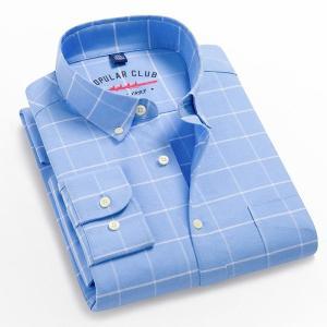 Men's 100% Cotton Regular-Fit Long-Sleeve Pocket Oxford Shirt Button Down Casual Dress Shirt