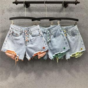2020 Spring Summer Plus Size Denim Shorts Women Fashion Loose Splicing Button Hole Shorts Casual High Waited Wide leg Jeans K331