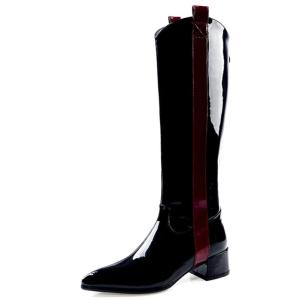 FEDONAS Warm Long Boots Night Club Shoes Woman 2020 Autumn Winter Cow Patent Leather Women Knee High Boots Zipper High Heels