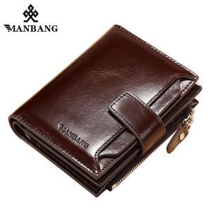 ManBang 2019 Hot Sale Wallets Man Short Genuine Leather Card Holder Snap Brand Mini Purse Folding Designer Coin Bag Male