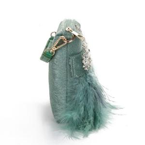 Luxury Designer Feather Clutch Bag Women Tassel Handbag For Wedding Party Pink Green White Diamond Rhinestone Clutches ZD1296
