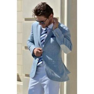 Latest Blue Linen Jacket White Pant Groom Tuxedo Wedding Mens Suits 2 Pieces Elbow Patched Blazer Groomsman Best Men Suit