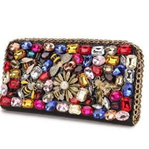 Luxury Diamond Alphanumeric Insects Flower Ladies Long Clutch Wallet Large Wallets Female Purse Lady Purses e Pocket Card Holder