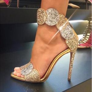 Summer Gold Bling Crystal Embellished High Heel Sandals Summer Sexy Open Toe Woman Back Zipper Ankle Strap Gladiator Sandals