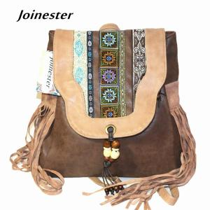Ethnic Embroidery PU Flap Backpack for Women Fringe Beading Vintage Schoolbags Woman Daily Backpacks Travel Bag Retro Rucksacks