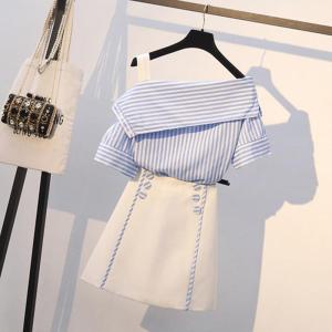 New 2019 Summer Women Sexy Off Shoulder Striped Blouse Shirts+High Waist Button Mini Skirt 2 Pieces Clothing Set Plus Size L-4XL
