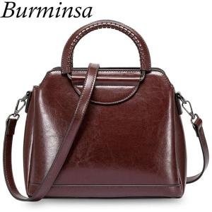 Burminsa Vintage Shell Women Genuine Leather Handbags Metal Handle Female Tote Bags Ladies Shoulder Messenger Bags Spring 2020