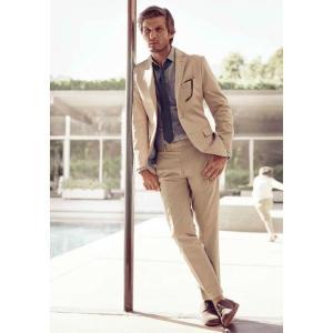 Custom Made Beige Business Men Suit