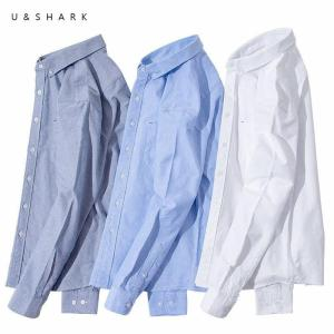 U&SHARK Long-Staple Cotton Oxford Shirt Long Sleeve Men Blouse Casual White Shirt Classic Mens Dress Shirts Striped Plaid Male