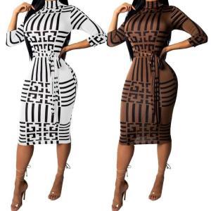 Sexy Women Dress Party long club bodycon Dresses Sashes Turtleneck Clothes