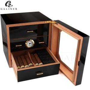 Black Glossy Cigar Humidor Box Cedar Wood Cigar Case W/ Humidifier Hygrometer Cigar Box Luxury Humidors For COHIBA Cuba Cigars