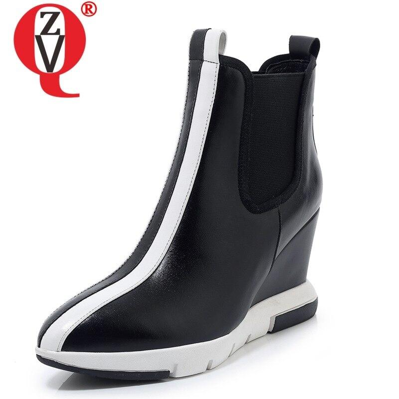 ZVQ woman shoes 2019 winter new fashion sexy pointed toe high quality genuine leather ankle boots outside mixed colors shoes