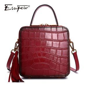 ESUFEIR New Genuine Leather Women Handbags Alligator Stitching Ladies Shoulder Bag Tassel Messenger Bag Vintage Small Square Bag