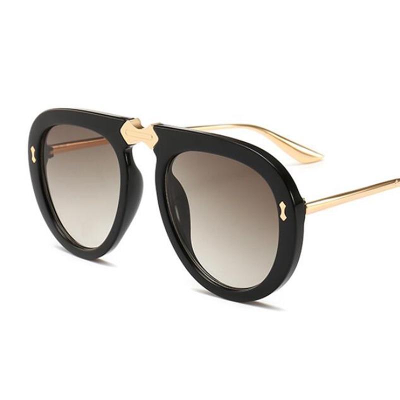 Luxury Oversized Sunglasses Women Retro Brand Designer Big Frame Sun Glasses Trendy Black Shades 90s Clear Glasses Pilot Style